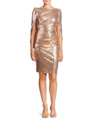 Talbot Runhof Sequin Cape Dress Bronze
