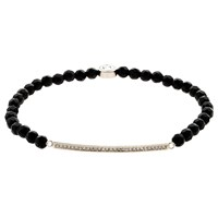 Melissa Odabash Swarovski Crystal Bar And Onyx Bead Stretch Bracelet Silver Black