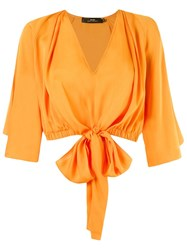 Andrea Marques V Neck Cropped Blouse Yellow And Orange