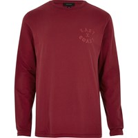River Island Mens Red 'East Coast' Long Sleeve T Shirt