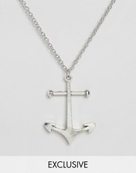 Reclaimed Vintage Anchor Necklace In Silver Silver