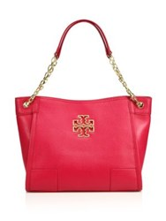 Tory Burch Britten Small Leather Slouchy Tote Raspberry
