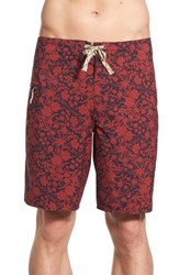 Men's Patagonia Regular Fit Wave Print Board Shorts Red Navy Blue