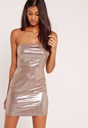 Missguided Bandeau Metallic Bodycon Dress Silver