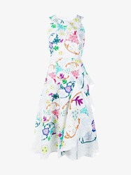 Peter Pilotto Sleeveless Floral Print Cloque Dress White Multi Coloured