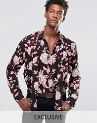 Reclaimed Vintage Party Shirt With Neck Scarf In Regular Fit Black