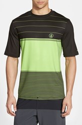 Men's Volcom 'Sub Stripe' Short Sleeve Rashguard Electric Green