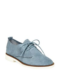 Steve Madden Tripit Perforated Suede And Nubuck Leather Oxfords Blue