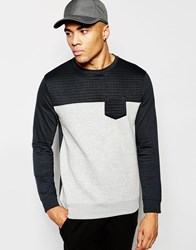 New Look Colour Blocked Sweatshirt With Ribbed Detail Navy