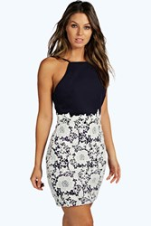 Boohoo Boutique Lace Crochet Bodycon Dress Navy