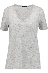 Maje Slub Cotton Blend Jersey T Shirt Gray