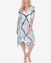 Lucky Brand Printed High Low A Line Dress Blue Multi