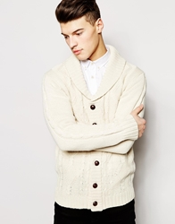 Brave Soul Shawl Neck Cardigan Cream