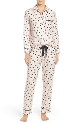 Kate Spade Women's New York Flannel Pajamas Shadow Dot Pastry Pink