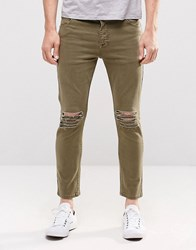 Asos Skinny Cropped Jeans With Extreme Knee Rips In Light Green Burnt Olive