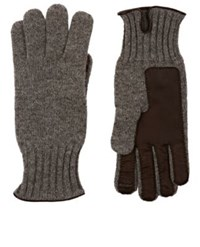 Barneys New York Men's Leather Accented Cashmere Gloves Grey