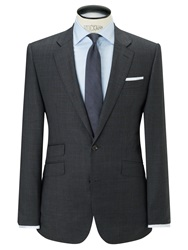 John Lewis Super 100S Wool Prince Of Wales Check Tailored Suit Jacket Charcoal