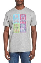 Psycho Bunny Men's Andy Graphic T Shirt Heather Grey