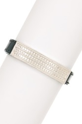 Anna Beck Sterling Silver Divided Bar Leather Bracelet Metallic