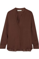 Vince Silk Georgette Blouse Chocolate