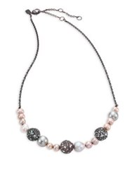 Alexis Bittar Elements Mini Pave And Faux Pearl Strand Necklace Grey Multi