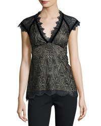 Nanette Lepore Cap Sleeve Paisley Lace Top Black