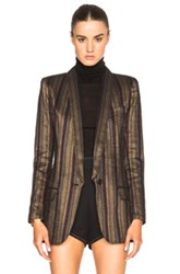 Smythe Long Shawl Blazer In Stripes Green Stripes Green