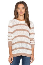 Michael Stars Long Sleeve Striped Crew Neck Pullover Ivory