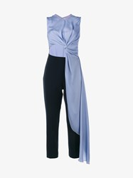 Roksanda Ilincic Ellis Draped Cutout Jumpsuit Navy Powder Blue Pink Light Blue Red