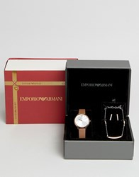 Emporio Armani Watch And Jewellery Set Tan Gold