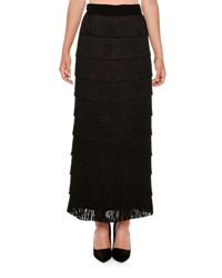 Stella Mccartney Tiered Fringe Maxi Skirt Black