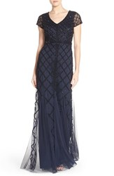 Adrianna Papell Women's Beaded Mesh Gown Navy