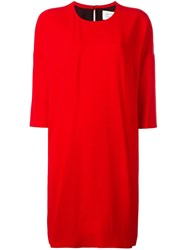 Gianluca Capannolo Three Quarter Sleeve Shift Dress Red