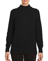 1.State Long Sleeve Mock Neck Cotton Blend Sweater Rich Black