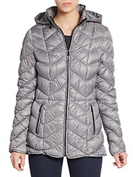 Saks Fifth Avenue Quilted Down Puffer Jacket Quick Silver