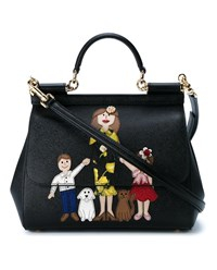 Dolce And Gabbana Family Print Leather Satchel Black Multi Coloured
