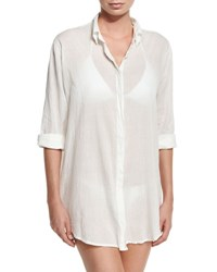 Letarte Button Front Beach Shirt White