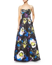 Milly Strapless Bustier Floral Print Ball Gown
