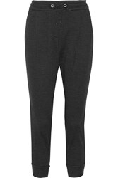 Brunello Cucinelli Satin Trimmed Wool And Cotton Blend Track Pants Charcoal