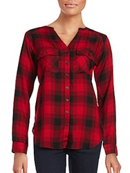 Saks Fifth Avenue Collarless Plaid Button Up Shirt Red Black