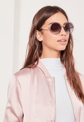 Missguided Round Frame Sunglasses Gold Gold