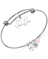 Unwritten Live Laugh Love Charm And Cherry Quartz 8Mm Bangle Bracelet In Stainless Steel