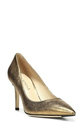 Via Spiga Women's 'Carola' Pointy Toe Pump Gold Leather