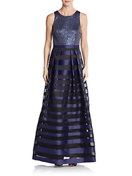 Kay Unger Sequin And Stripe A Line Gown Navy Multi