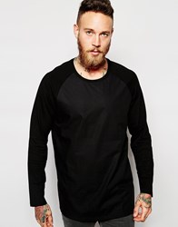 Weekday Long Sleeve Top Smith Longline Raglan Nylon Body Black