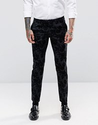 Noose And Monkey Super Skinny Tuxedo Trousers In Flocked Floral With Stretch Grey