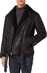Topman Men's Faux Shearling Biker Jacket