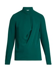 Elizabeth And James Darby Drape Front Crepe Blouse Dark Green