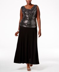 R And M Richards Plus Size Sequin Top Knit Dress Silver Black