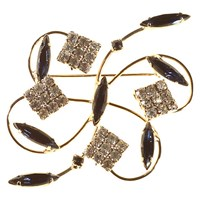 Alice Joseph Vintage 1960S Silver Toned Diamante Abstract Brooch Sapphire Crystal
